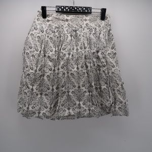 Ann Taylor LOFT White Black Pleated A-Line Skirt